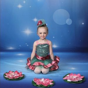 Adorable green and mauve ballet tutu costume